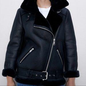 Zara faux leather sheepskin biker jacket - Sz S